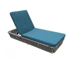 Záhradná posteľ z umelého ratanu Corda - svetlosivá / tyrkysová