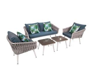 Záhradný nábytok z umelého ratanu Corda - svetlosivá / tyrkysová