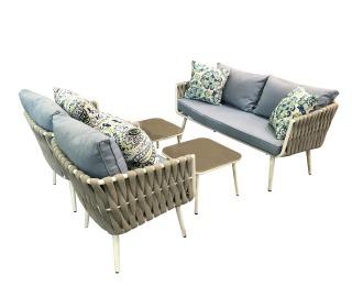 Záhradný nábytok z umelého ratanu Corda - svetlohnedá / sivá