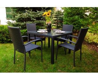 Záhradný set z umelého ratanu Eccellente - čierna