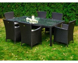Záhradný set z umelého ratanu Gustoso - čierna / ecru