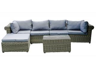 Záhradný nábytok z umelého ratanu Imperioso - svetlohnedá / sivá