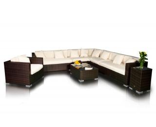 Záhradný nábytok z umelého ratanu Magnifico - hnedá / ecru