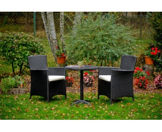 Záhradný set z umelého ratanu Poco - čierna / ecru