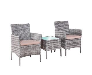 dbc0be4fcb746 Záhradný nábytok z umelého ratanu Sano - sivý melanž / béžová