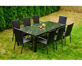 Záhradný set z umelého ratanu Sottile - čierna
