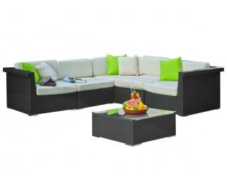 Záhradný nábytok z umelého ratanu Splendido - čierna / ecru