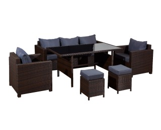 Záhradný nábytok z umelého ratanu Strano - hnedý melanž / sivá
