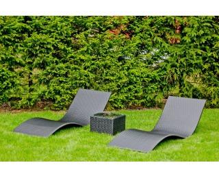 Záhradné lehátko (2 ks) so stolíkom Successo - čierna