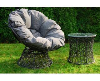 Záhradné kreslo z umelého ratanu so stolíkom Twist - sivý melanž / sivá