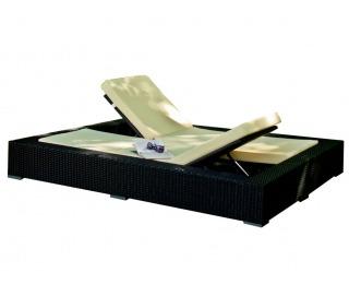 Záhradná posteľ z umelého ratanu Umile - čierna / ecru