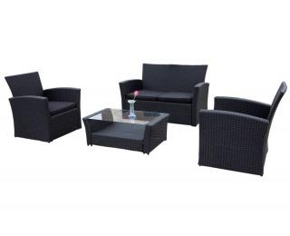 Záhradný nábytok z umelého ratanu Unico - čierna