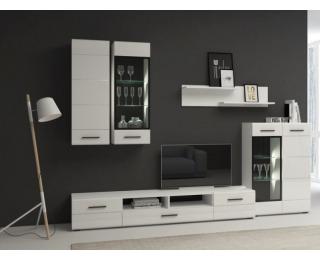 Obývacia stena Bianco - biela / biely lesk