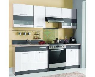Kuchyňa Modena 220 - rijeka svetlá / biely lesk / grafit mat