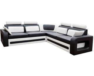 Rohová sedačka s rozkladom a úložným priestorom Bolzano L - čierna (Soft 11) / biela (Soft 17)