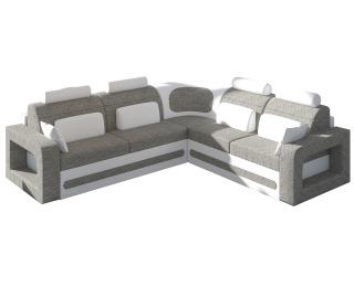 Rohová sedačka s rozkladom a úložným priestorom Bolzano L - sivá (Berlin 01) / biela (Soft 17)