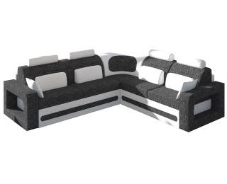 Rohová sedačka s rozkladom a úložným priestorom Bolzano P - čierna (Berlin 02) / biela (Soft 17)