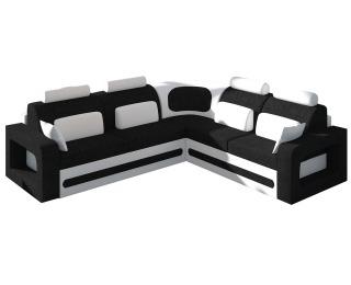 Rohová sedačka s rozkladom a úložným priestorom Bolzano P - čierna (Sawana 14) / biela (Soft 17)