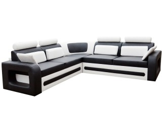 Rohová sedačka s rozkladom a úložným priestorom Bolzano P - čierna (Soft 11) / biela (Soft 17)