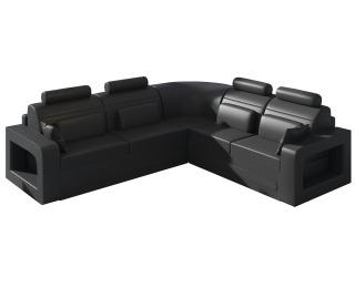 Rohová sedačka s rozkladom a úložným priestorom Bolzano P - čierna (Soft 11)