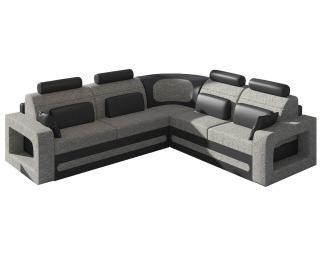 Rohová sedačka s rozkladom a úložným priestorom Bolzano P - sivá (Berlin 01) / čierna (Soft 11)
