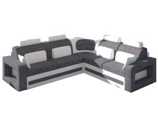 Rohová sedačka s rozkladom a úložným priestorom Bolzano P - sivá (Sawana 05) / biela (Soft 17)
