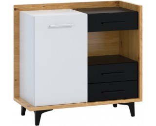 Komoda Box BOX-01 - dub artisan / biela / čierna