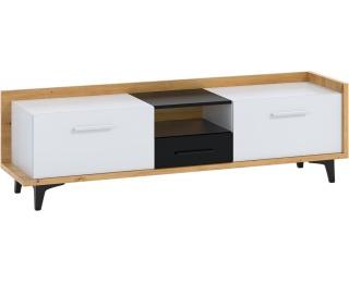TV stolík Box BOX-09 - dub artisan / biela / čierna