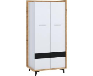 Šatníková skriňa Box BOX-10 2D - dub artisan / biela / čierna