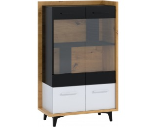 Vitrína Box BOX-12 - dub artisan / biela / čierna