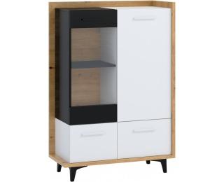 Vitrína Box BOX-13 - dub artisan / biela / čierna
