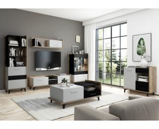 Obývacia izba Box - craft zlatý / biela / čierna