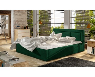 Čalúnená manželská posteľ s roštom Branco 200 - tmavozelená