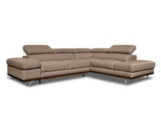 Rohová sedačka s rozkladom a úložným priestorom Carmen P - hnedá / drevo (DR2219) / chróm