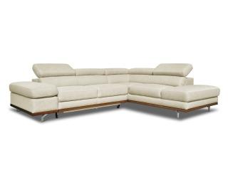 Rohová sedačka s rozkladom a úložným priestorom Carmen P - krémová / drevo (DR2217) / chróm