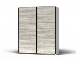 Šatníková skriňa s posuvnými dverami Colin 183 - biela / smrekovec sibiu svetlý