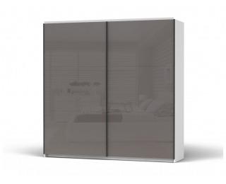 Šatníková skriňa s posuvnými dverami Colin 220 - biela / lak grafitový lesk
