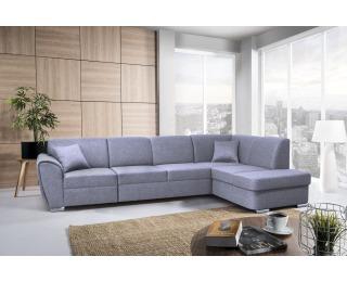 Rohová sedačka s rozkladom a úložným priestorom Dolores P - modrosivá / chróm