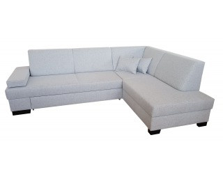 Rohová sedačka s rozkladom a úložným priestorom Komo 3 P - svetlosivá / wenge