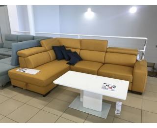 Rohová sedačka s rozkladom a úložným priestorom Mondo 2 L - žltá / chróm