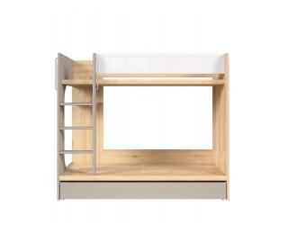 Poschodová posteľ s úložným priestorom Namek LOZ1S/90P - buk iconic / biely lesk / sivá