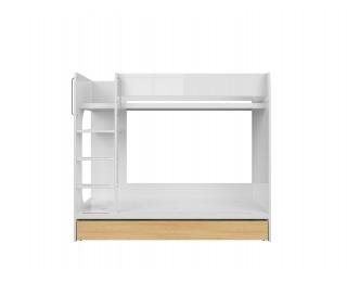 Poschodová posteľ s úložným priestorom Princeton LOZ1S/90P - biely lesk / dub poľský