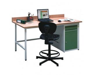 Dielenský PC stôl C - svetlosivá / zelená