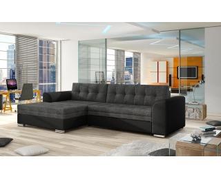 Rohová sedačka s rozkladom Caltanis L - sivá (Sawana 05) / čierna (Soft 11)