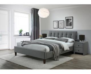 Čalúnená manželská posteľ s roštom Samara 2 160 - sivá / orech