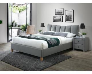 Čalúnená manželská posteľ s roštom Sandy 2 160 - sivá / buk
