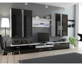 Obývacia stena Dream 3 - biely mat / čierny lesk