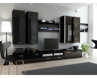Obývacia stena Dream 3 - čierny mat / čierny lesk