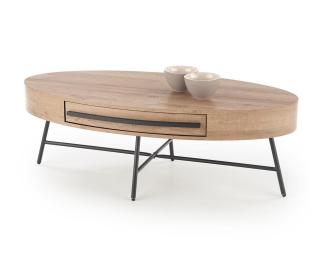 Oválny konferenčný stolík Carolina - dub zlatý / čierna