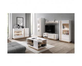 Obývacia izba City - biela / dub grandson / biely lesk